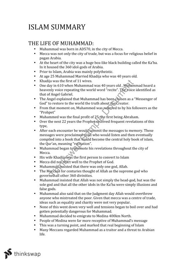 Islam Summary Notes