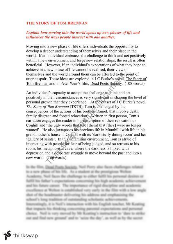 Written Essay Papers Tom Brennan Buy Custom Essay Papers also Apa Sample Essay Paper Tom Brennan  Year  Hsc  English Standard  Thinkswap Example Of Proposal Essay