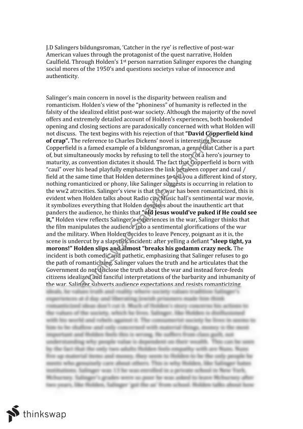 catcher in the rye style essay An analysis of jd salinger's use of the style of writing, symbolism and universal themes in his novel the catcher in the rye page 1 of download this essay.