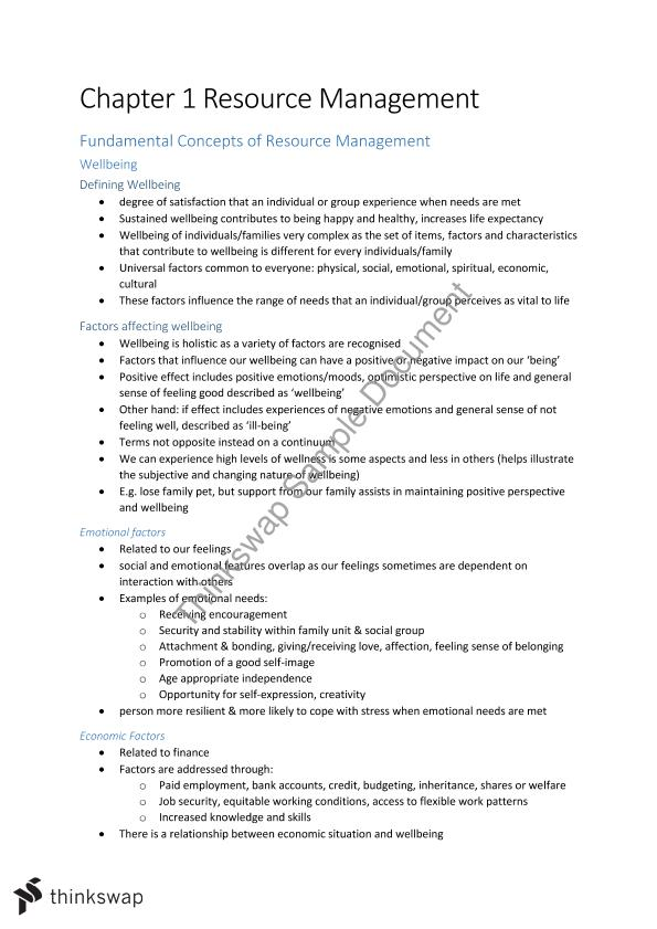 Resource Management Summary Notes