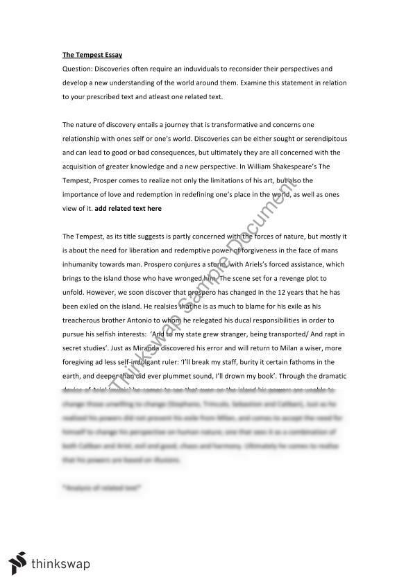 shakespeare essay  printable bloom    s taxonomy  the tempest by    tempest essay   year  hsc   english  advanced    thinkswaptempest essay