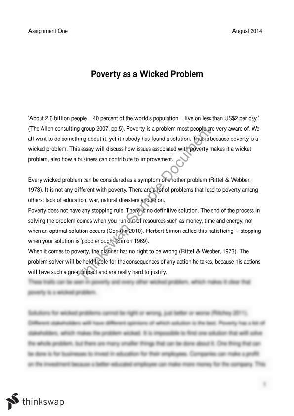 the wicked problem of poverty essay integrating  the wicked problem of poverty essay