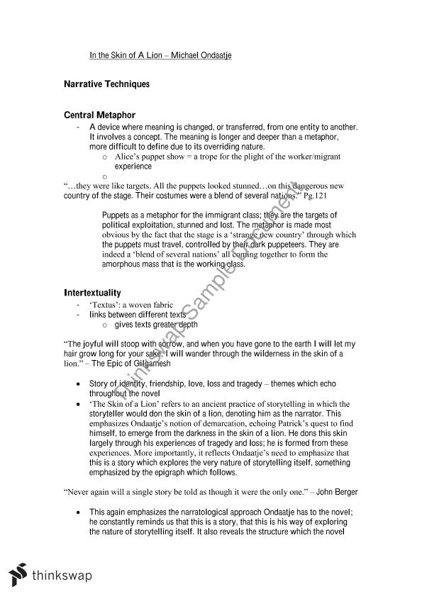 In The Skin of a Lion Notes | Year 12 HSC - English