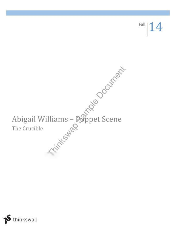 compare the roles that elizabeth proctor and abigail williams play in the crucible essay