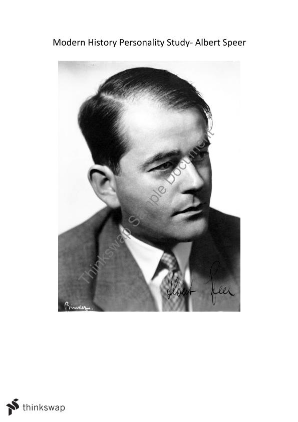 albert speer study case Speer is indicted under all four counts speer joined the nazi party in 1932in 1934, he was made hitler's architect and became a close personal confidant.