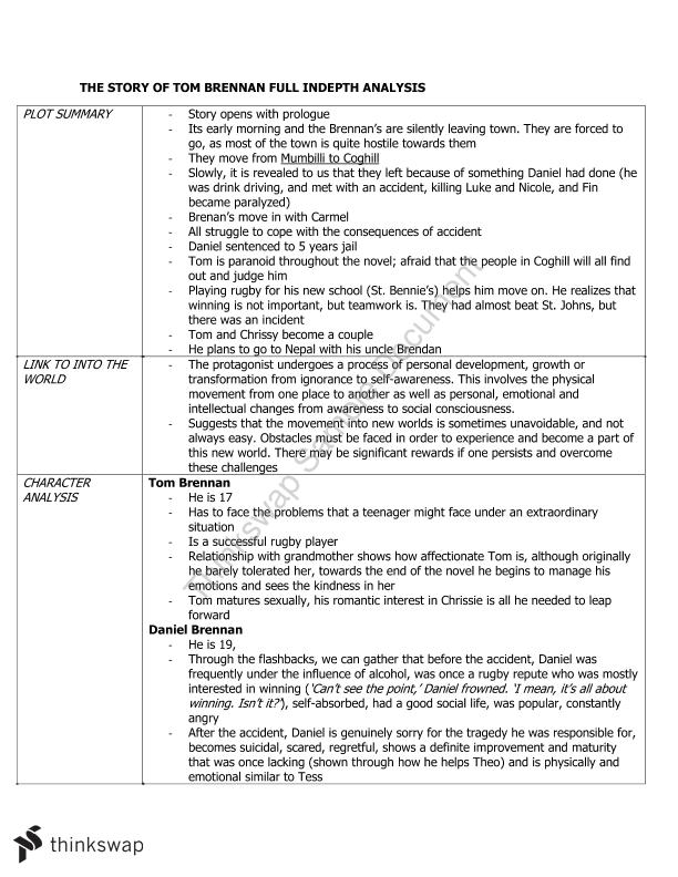 Argumentative Essay Proposal The Story Of Tom Brennan Full Indepth Analysis Learning English Essay Example also Thesis Statement For Persuasive Essay The Story Of Tom Brennan Full Indepth Analysis  Year  Hsc  Short Essays In English