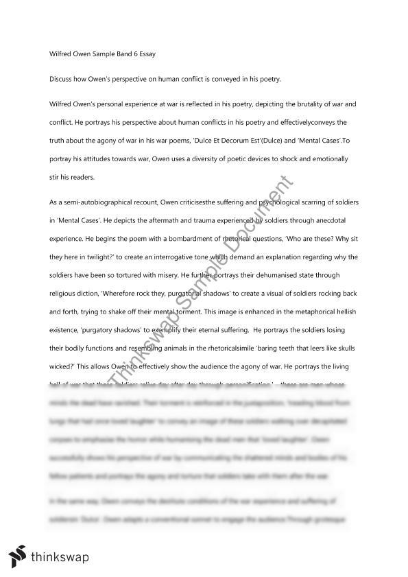Wilfred Owen Sample Band  Essay  Year  Hsc  English Standard  Document Details Essay  Project