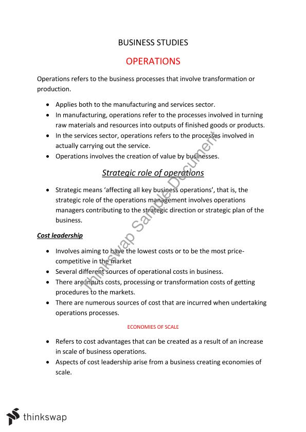 Business studies - Operations Notes | Year 12 HSC - Business Studies