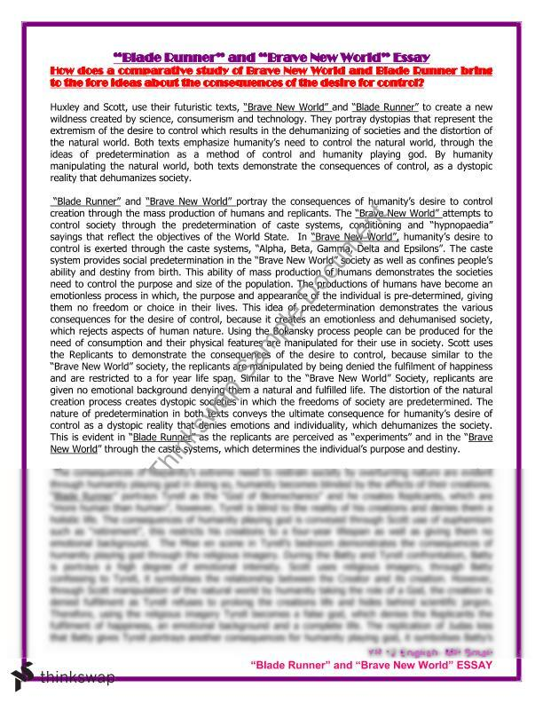 "blade runner"" and ""brave new world"" essay year hsc english  ""blade runner"" and ""brave new world"" essay"
