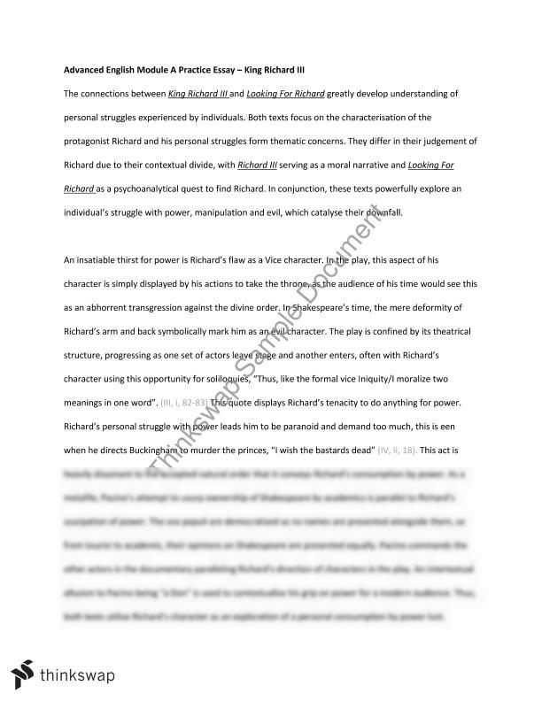 Superbe Advanced English Module A Practice Essay U2013 King Richard Iii Year Advanced  English Module A Practice