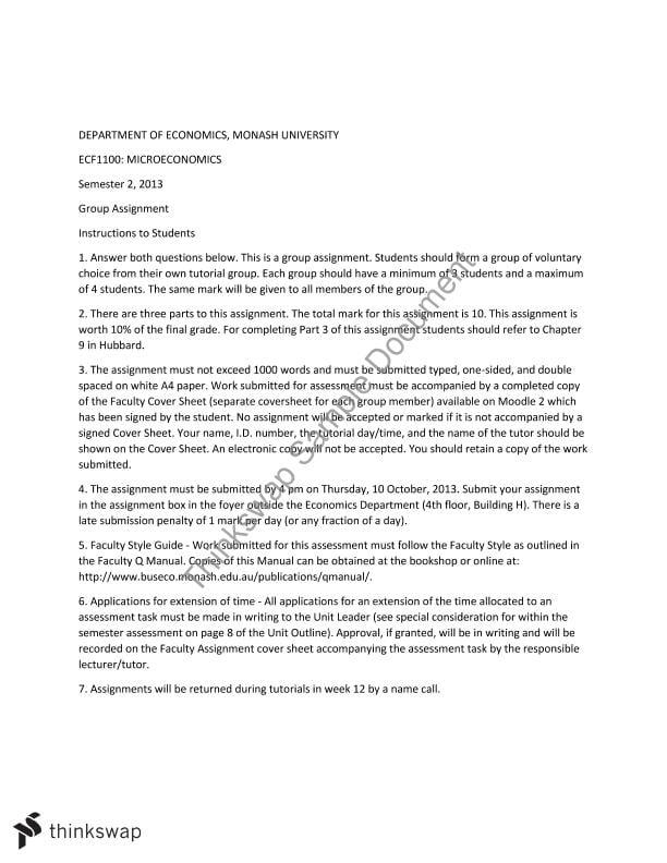 Microeconomics essay assignment