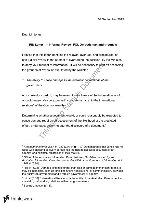 Letter Of Advice Assignment    Administrative Law  Thinkswap