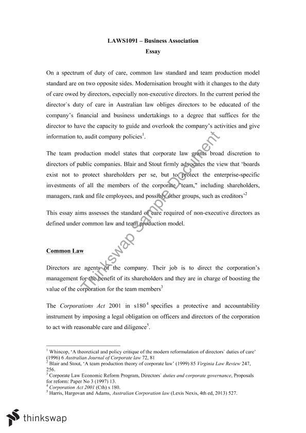 Business Associations Essay