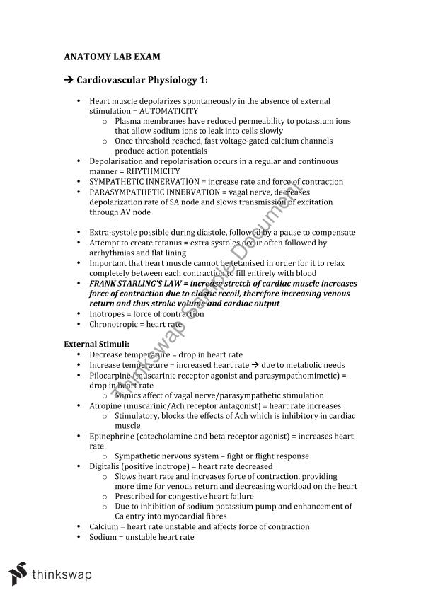 1017MSC Complete End of Semester Lab Exam Notes | 1017MSC - Anatomy ...