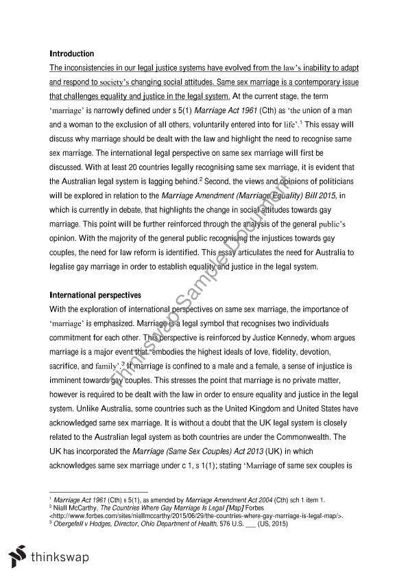 Same Sex Marriage Essay Examples
