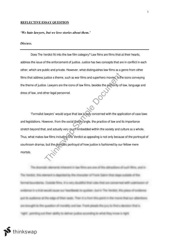 English Essay Friendship  How To Write Essay Proposal also Sample Essay English Reflective Essay On The Verdict  Law  Lawyers  English Essay Topics For College Students