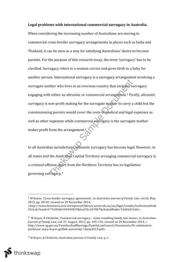 Commercial surrogacy essay