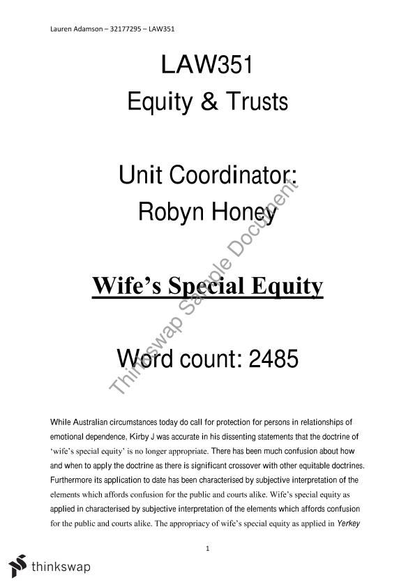 equity trust law essays Text, cases & materials on equity and trusts home about the book resources  it is a cardinal principle of the law of equity that a trust may only be valid.