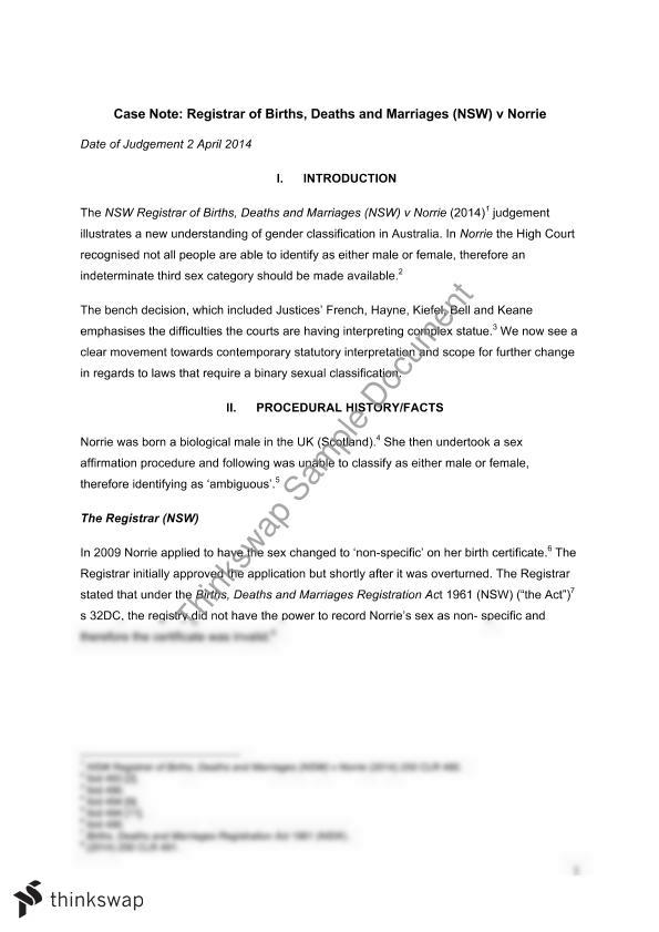 Case Note Assignment - Registrar of Births, Deaths and