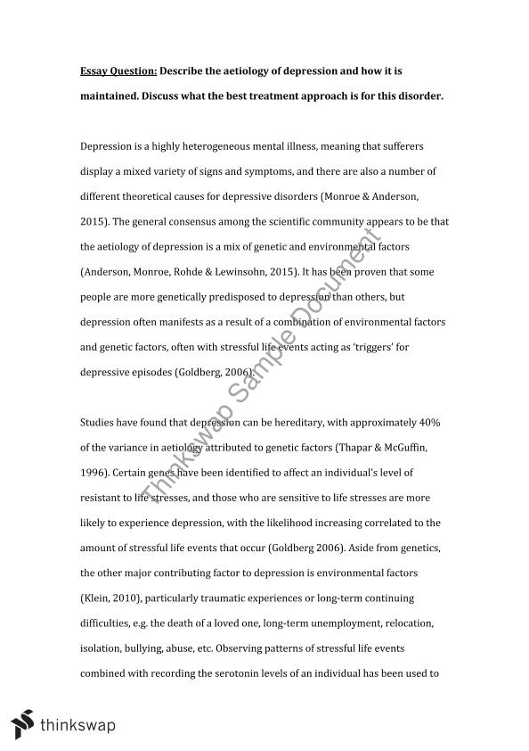 aetiology of depression essay psyc clinical perspectives aetiology of depression essay