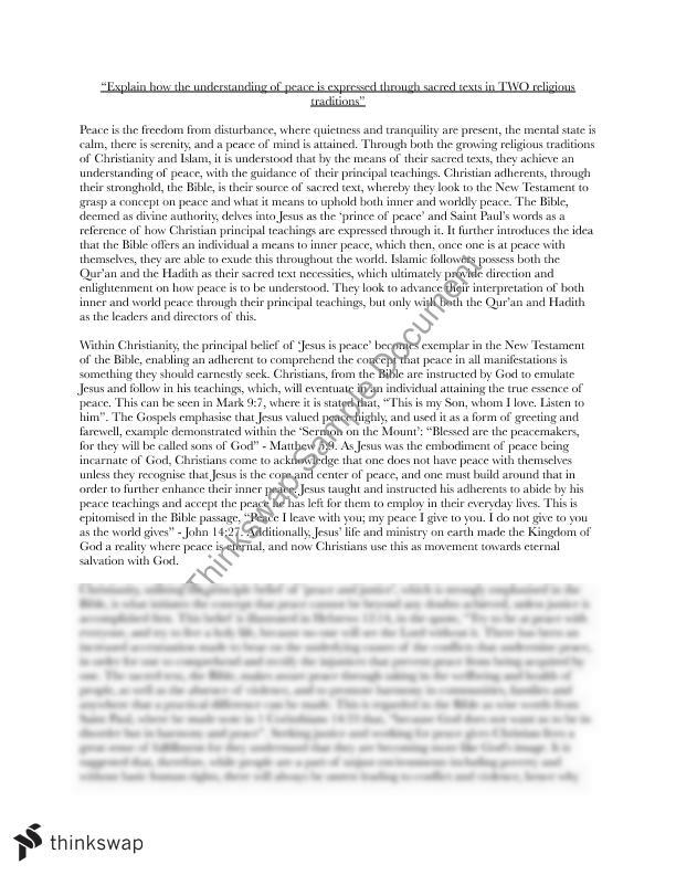 religion and peace essay year hsc studies of religion ii  an essay on religion and peace christianity