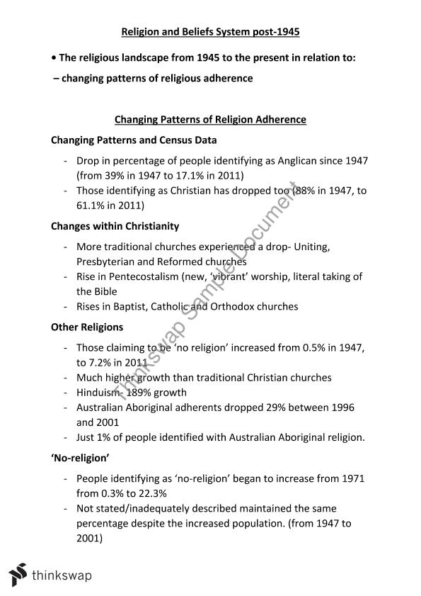 patterns in religion adherence