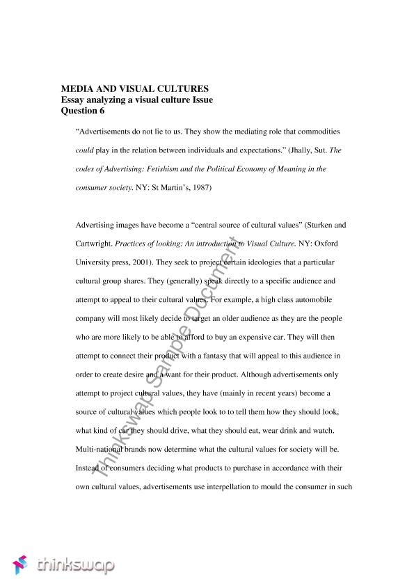 Essay On Science And Religion Mediamedia And Visual Culturesessay Analysing A Visual Culture Issue Examples Of A Thesis Statement For An Essay also Business Strategy Essay Mediamedia And Visual Culturesessay Analysing A Visual Culture  Essay Writing Paper