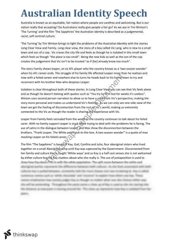 australia identity essay Australian identity essaysidentity is a debate that many australians are still arguing today after all these years of living in australia, the identity of the country is still something that cannot be agreed upon though many seem to have their own idea of what an australian is, there.