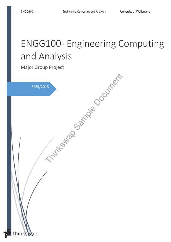 ENGG100: Major Assignment