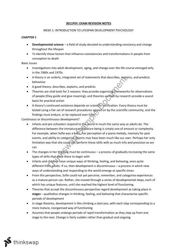 3011PSY Exam Notes 2015PSY Developmental Psychology