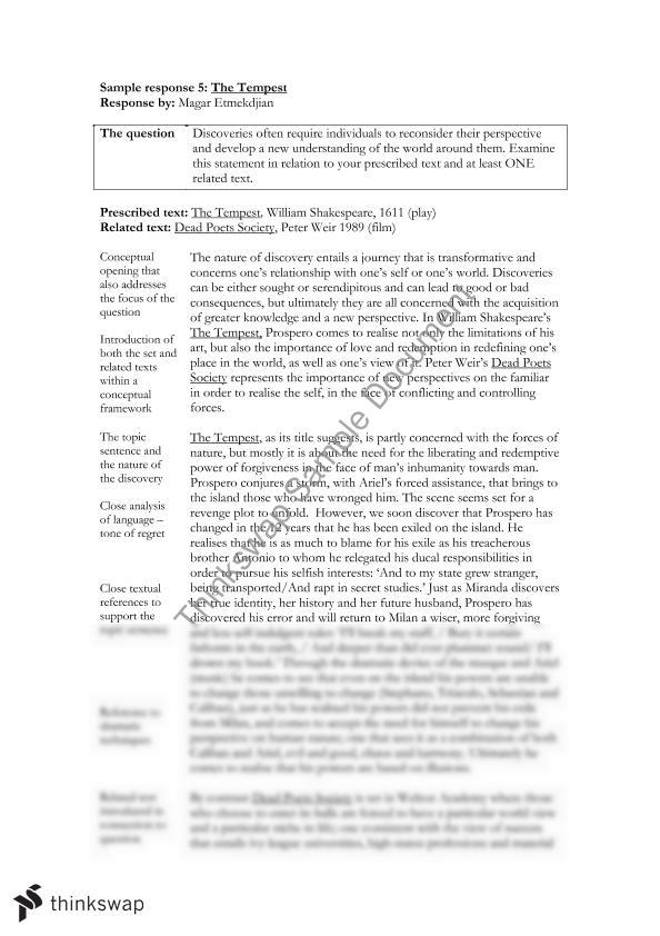 essay on shakespeare - the tempest