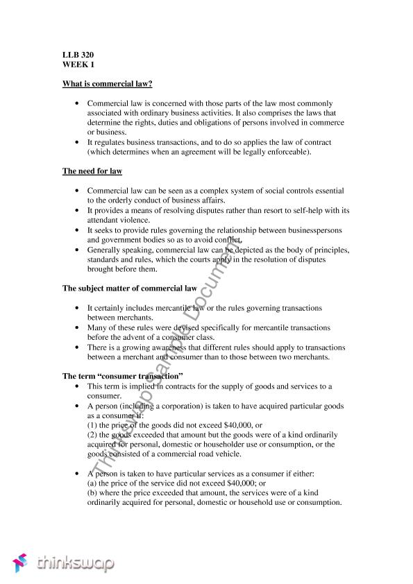 Commercial And Consumer Contracts Notes Llb320 Commercial And