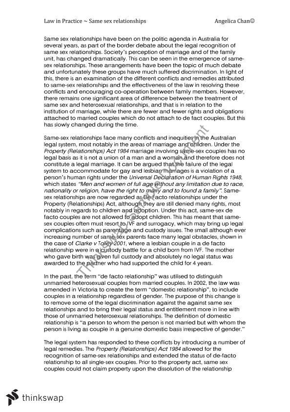 argumentative essay the same sex marriage should be legalized I am writing a persuasive essay on why same sex marriage should not be legal, and im having trouble with the thesis statement it needs 3 reasons as to why it should stay illegal[example: imperialism is selfish, immoral, and hypocritical.