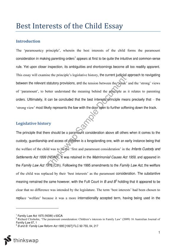 Family Law Essay Usyd S Laws Family Law Thinkswap Family Law Essay Usyd S2  2015