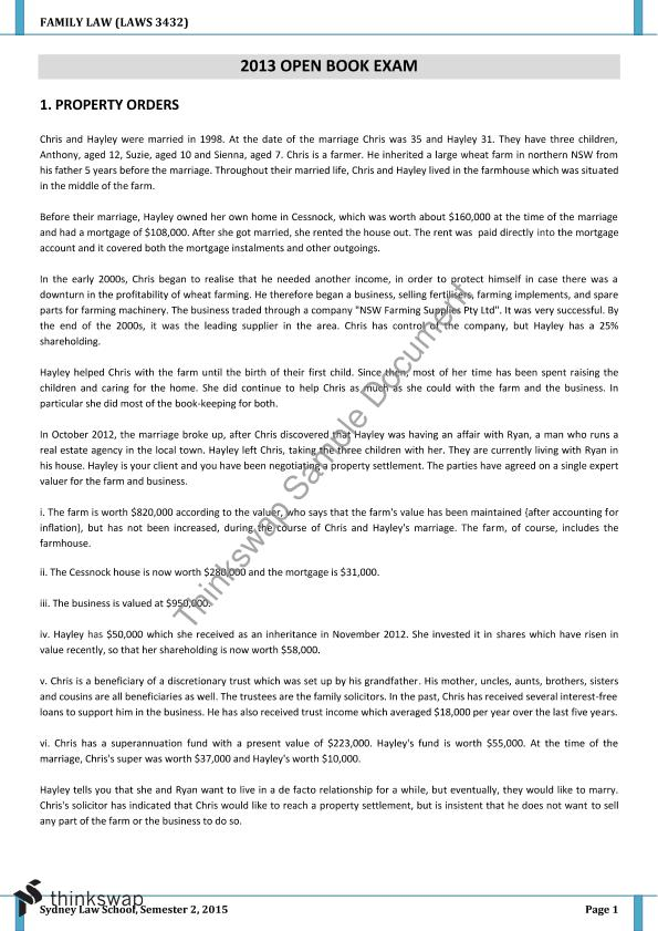 family law exam essay and sample answer