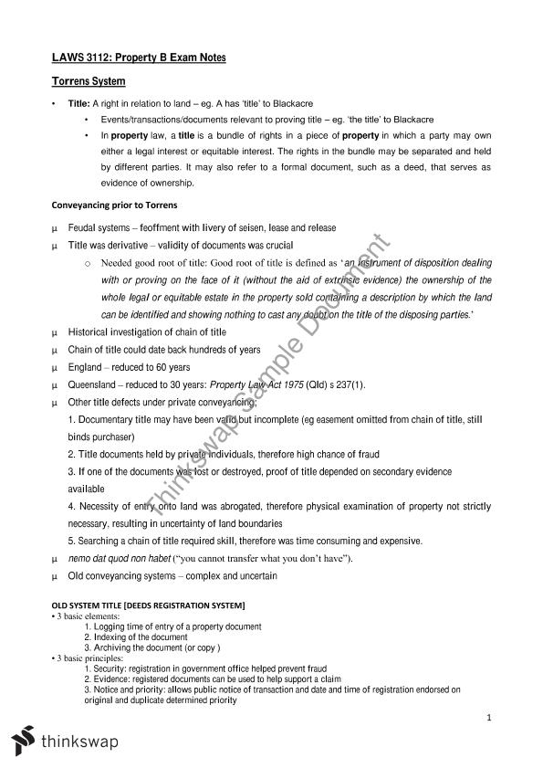 Law of Property B Notes   LAWS3112 - Law of Property B