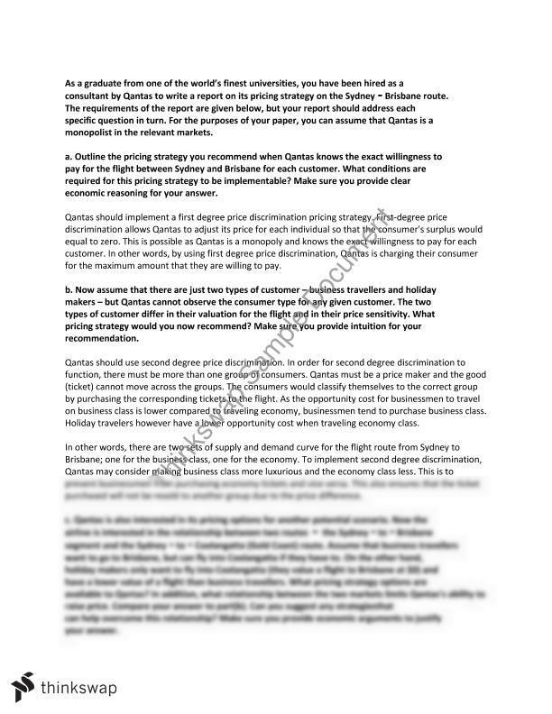 Mid Term Essay on Qantas | BUSS1040 - Economics for Business