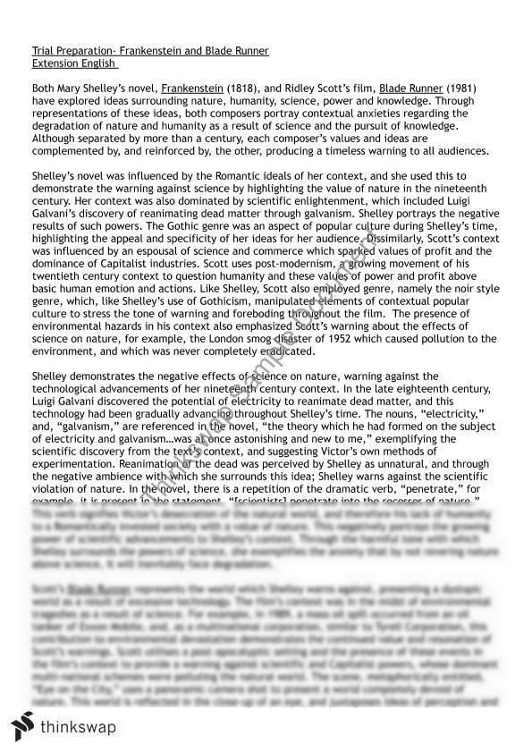 essay frankenstein mary nature science shelley vs
