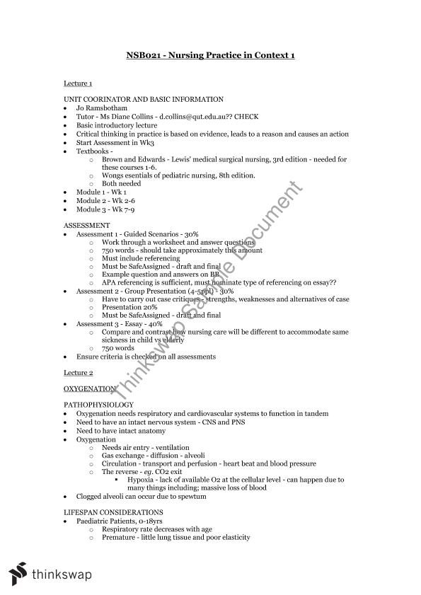 Nursing Practice in Context 1 Complete Study Notes | NSB021 ...
