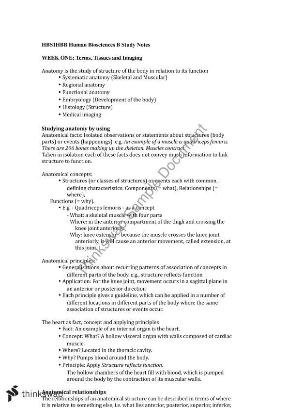 Human Biosciences B | HBS1HBB - Human Biosciences B | Thinkswap