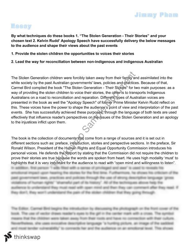 the stolen generation essay year hsc english standard  the stolen generation essay