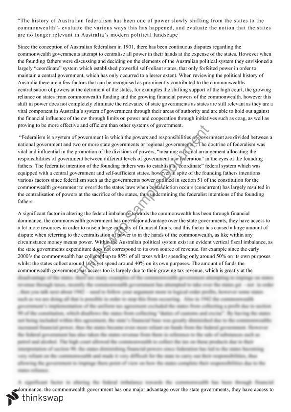 federalism essay paper ap government final project essays federalism  federalism essay year wace politics and law thinkswap federalism essay