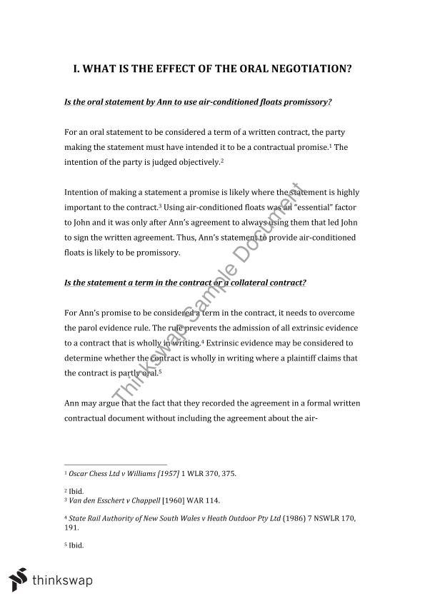 Contracts Mid Semester Assignment (LAWS1075)