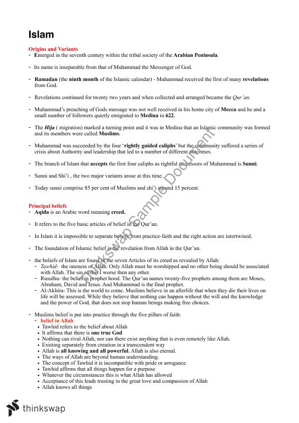 Islam and Religion of Ancient Origins Complete Summary Notes Prelim