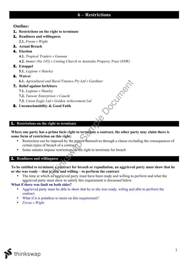 Restrictions contracts b law5005 principles of for B b contract