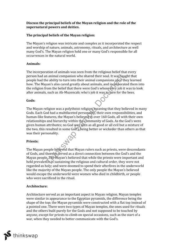 Mayan Religion Essay  Year  Hsc  Studies Of Religion Ii  Thinkswap Mayan Religion Essay My English Essay also What Is The Thesis Of An Essay  Essay With Thesis Statement