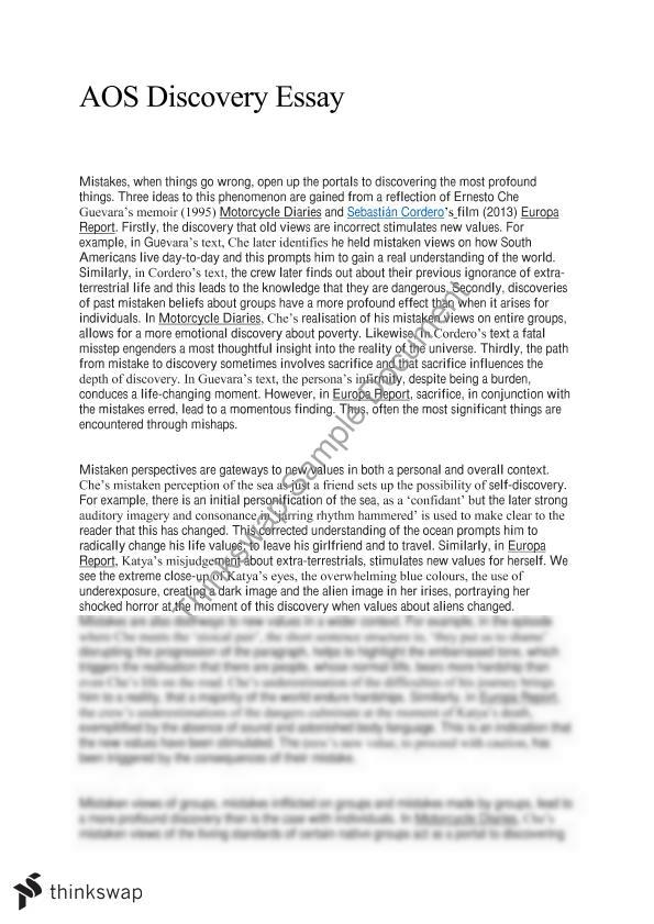 aos discovery essay year hsc english advanced thinkswap document screenshots aos discovery essay