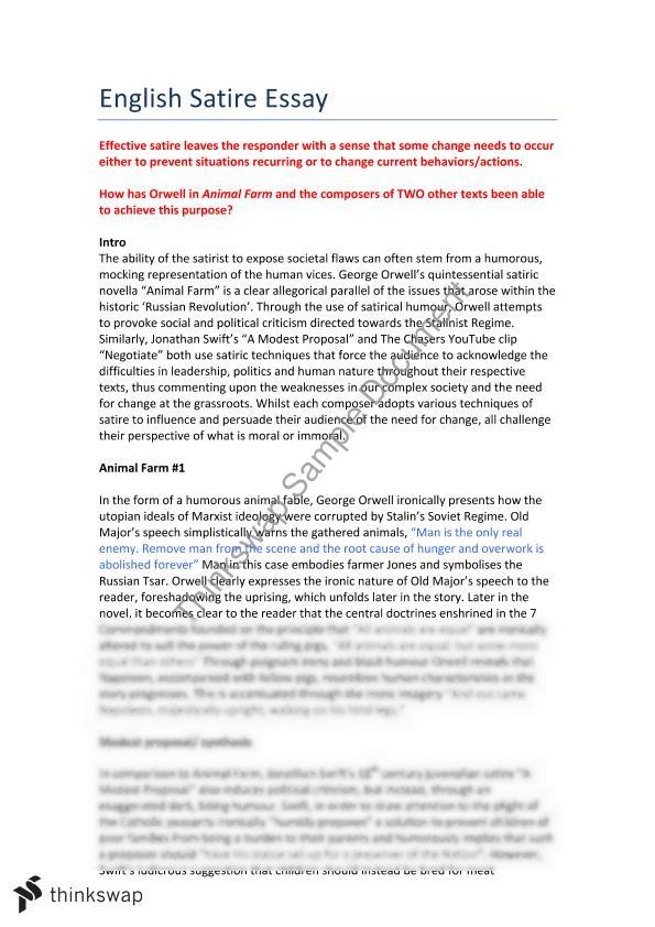 satire in animal farm essayanimal farm essay   year  hsc   english  advanced    thinkswap animal farm