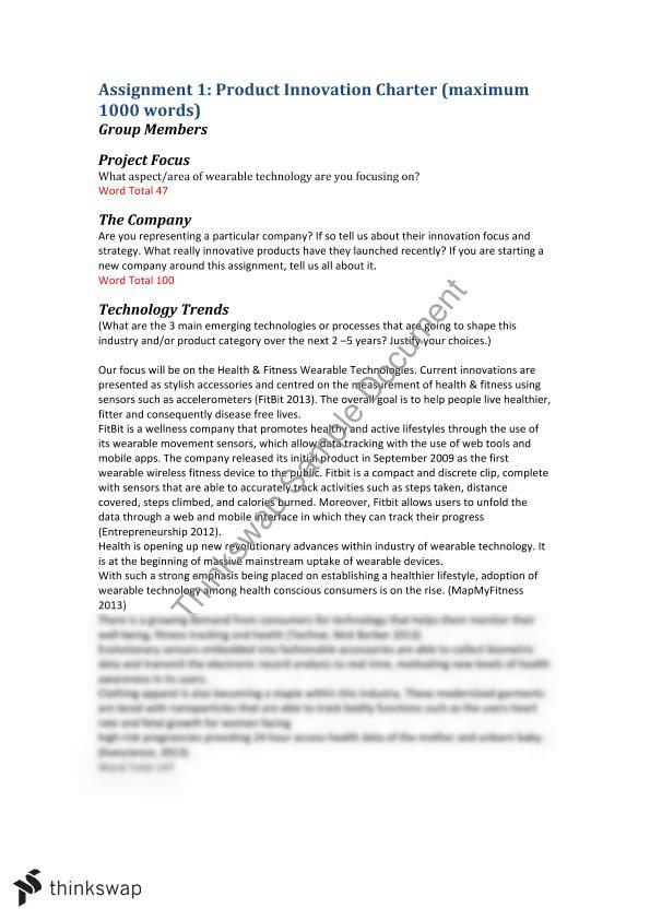 product innovation charter sample