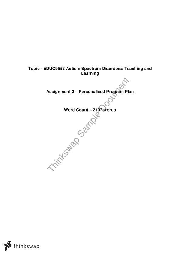 essay assignment autism spectrum disorders learning and  essay assignment autism spectrum disorders learning and teaching part 2 personalised program